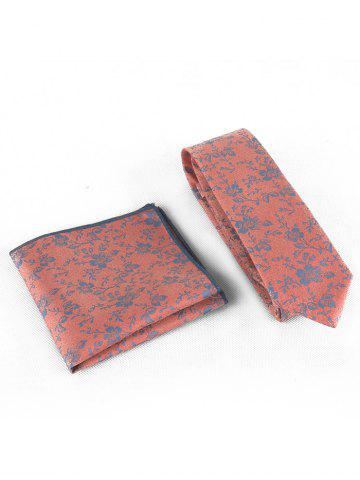 Chic Flourishing Flowers Silky Shirt Tie and Handkerchief Set