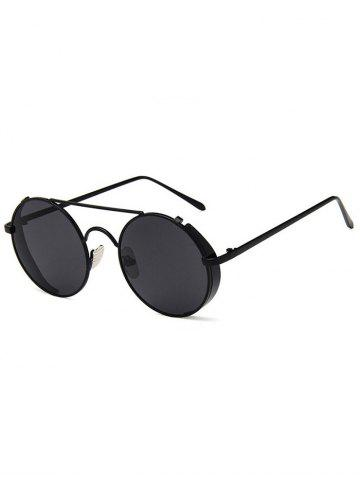 Store Unique Crossbar Flat Lens Round Sunglasses
