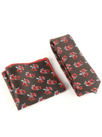 Chic Blooming Flowers Business Shirt Tie and Handkerchief Set