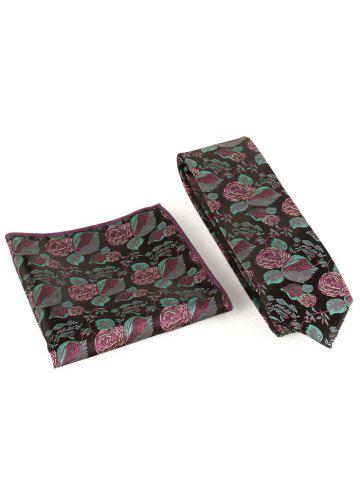 Store Floral Embroidery Business Formal Necktie Handkerchief Set