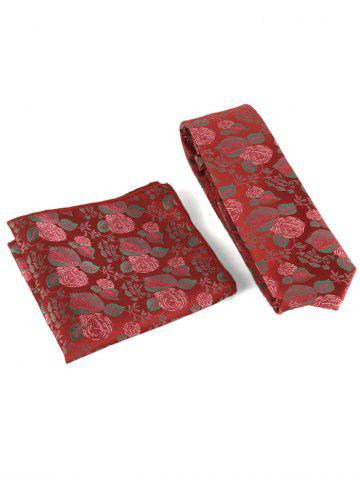 Buy Floral Embroidery Business Formal Necktie Handkerchief Set