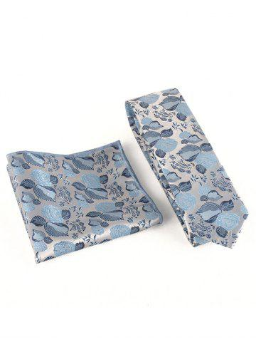 Fashion Floral Embroidery Business Formal Necktie Handkerchief Set
