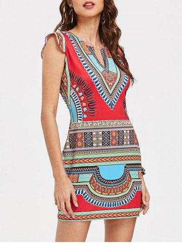 Sale Cap Sleeve Dashiki Short Dress