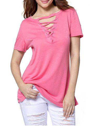 Trendy Simple Lace-up T-shirt
