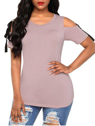 Shops Soft Knot Cutout T-shirt