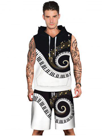 Online Spiral Piano Key Pattern Hoodies Tank Top and Shorts