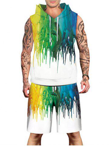 Outfit Dropping Paint Printed Sleeveless Hoodies Tank Top and Shorts