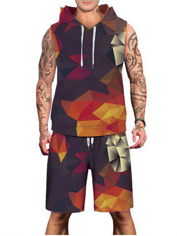 Fancy Geometric Figure Print Drawstring Hoodies Tank Top and Shorts