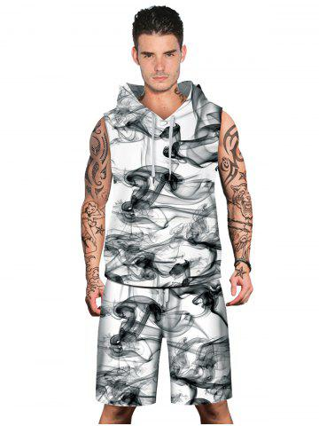 Shops Smoke Printed Drawstring Hoodies Tank Top and Shorts