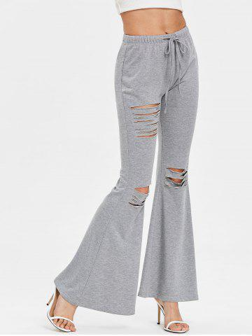 Shop High Waisted Drawstring Ripped Flare Pants