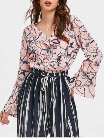 Best Flare Sleeves V Neck Ruffle Printed Top