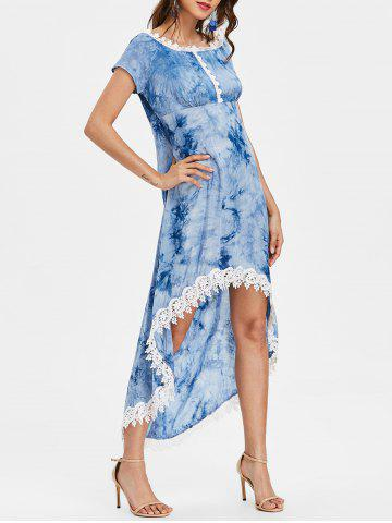 Tie Dyed Print Short Sleeve High Low Dress - DENIM BLUE - 2XL