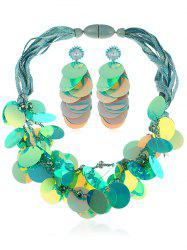 Faux Crystal Bead Sequins Necklace with Earrings -