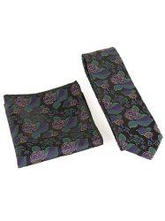 Floral Embroidery Business Formal Necktie Handkerchief Set -
