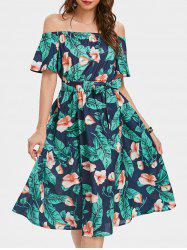 Off The Shoulder Printed Dress with Belt -
