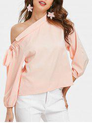Oblique Shoulder Puff Sleeve Blouse -