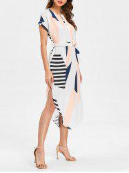 Geometric Print Slit Belted Dress -