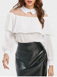 See Through Mesh Insert Ruffle Blouse -
