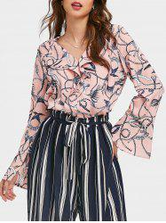 Flare Sleeves V Neck Ruffle Printed Top -