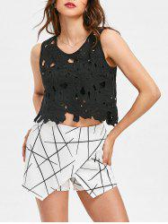 Lace Hollow Out Cropped Tank Top -