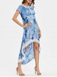Tie Dyed Print Short Sleeve High Low Dress -