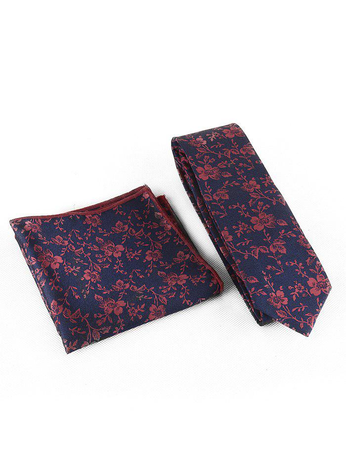Cheap Flourishing Flowers Silky Shirt Tie and Handkerchief Set
