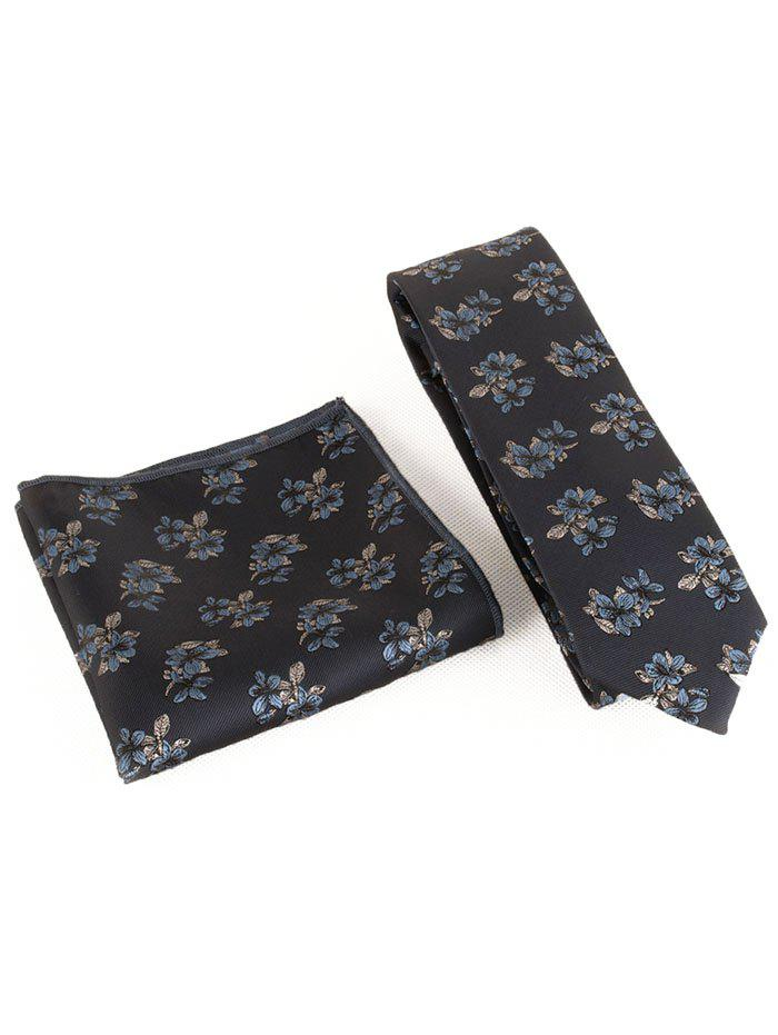 Discount Blooming Flowers Business Shirt Tie and Handkerchief Set