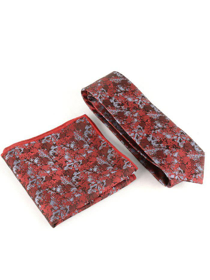 Fashion Camo Floral Silky Shirt Tie and Handkerchief Set