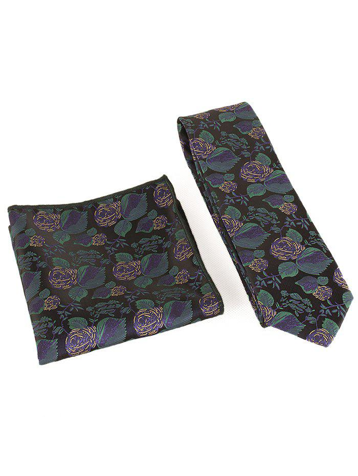 Online Floral Embroidery Business Formal Necktie Handkerchief Set