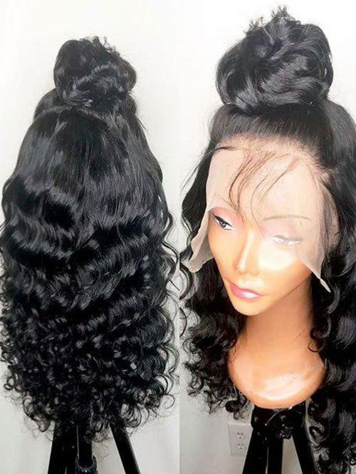 Hot Long Side Bang Wavy Lace Front Synthetic Wig