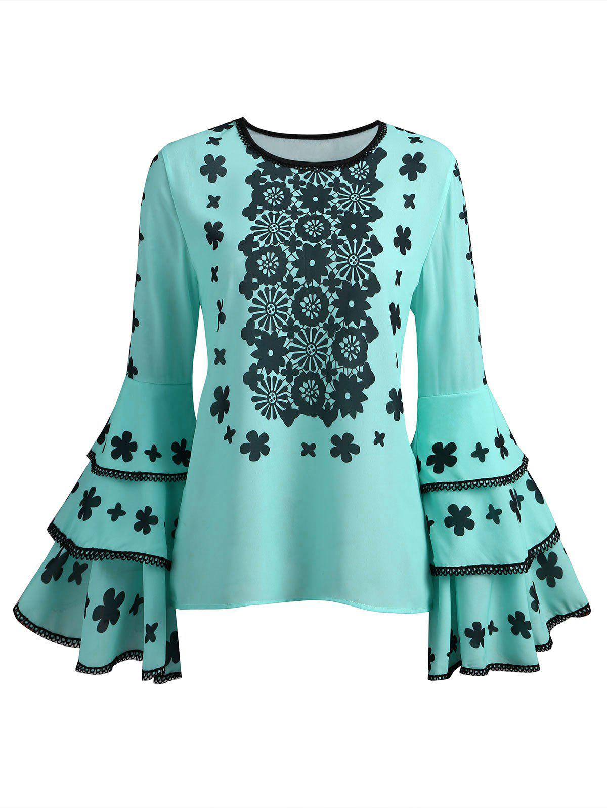 Outfits Lace Print Long Sleeve Blouse