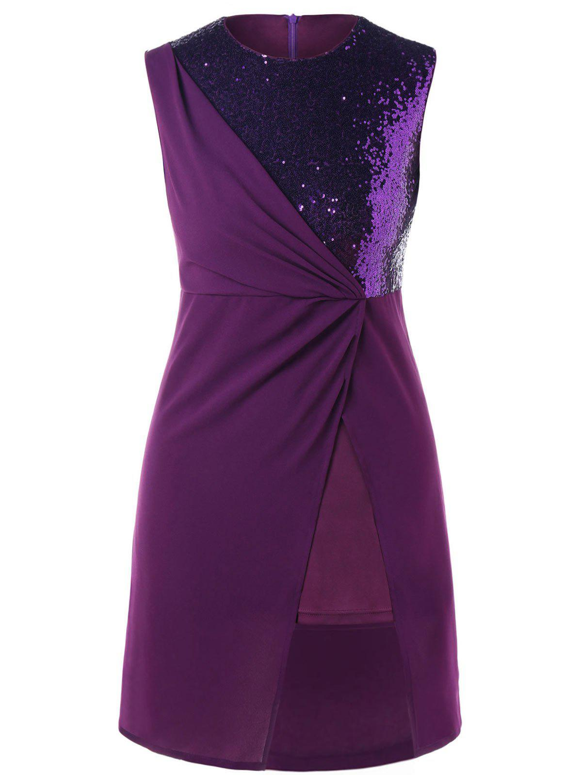 New Plus Size Sequins Insert Overlay Dress
