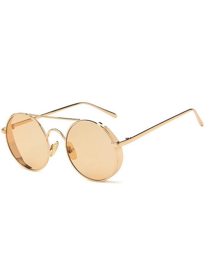 Online Unique Crossbar Flat Lens Round Sunglasses