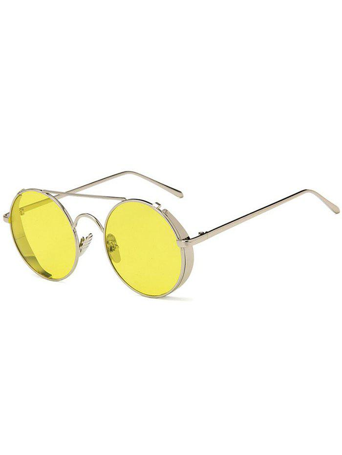 Outfit Unique Crossbar Flat Lens Round Sunglasses