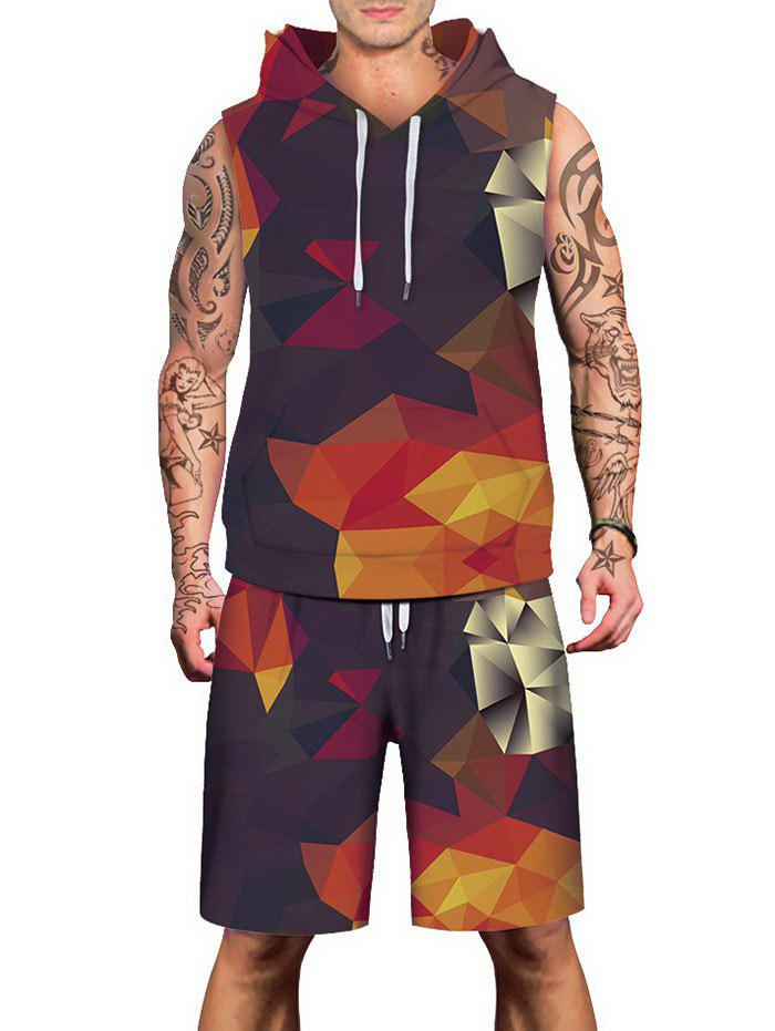 Cheap Geometric Figure Print Drawstring Hoodies Tank Top and Shorts