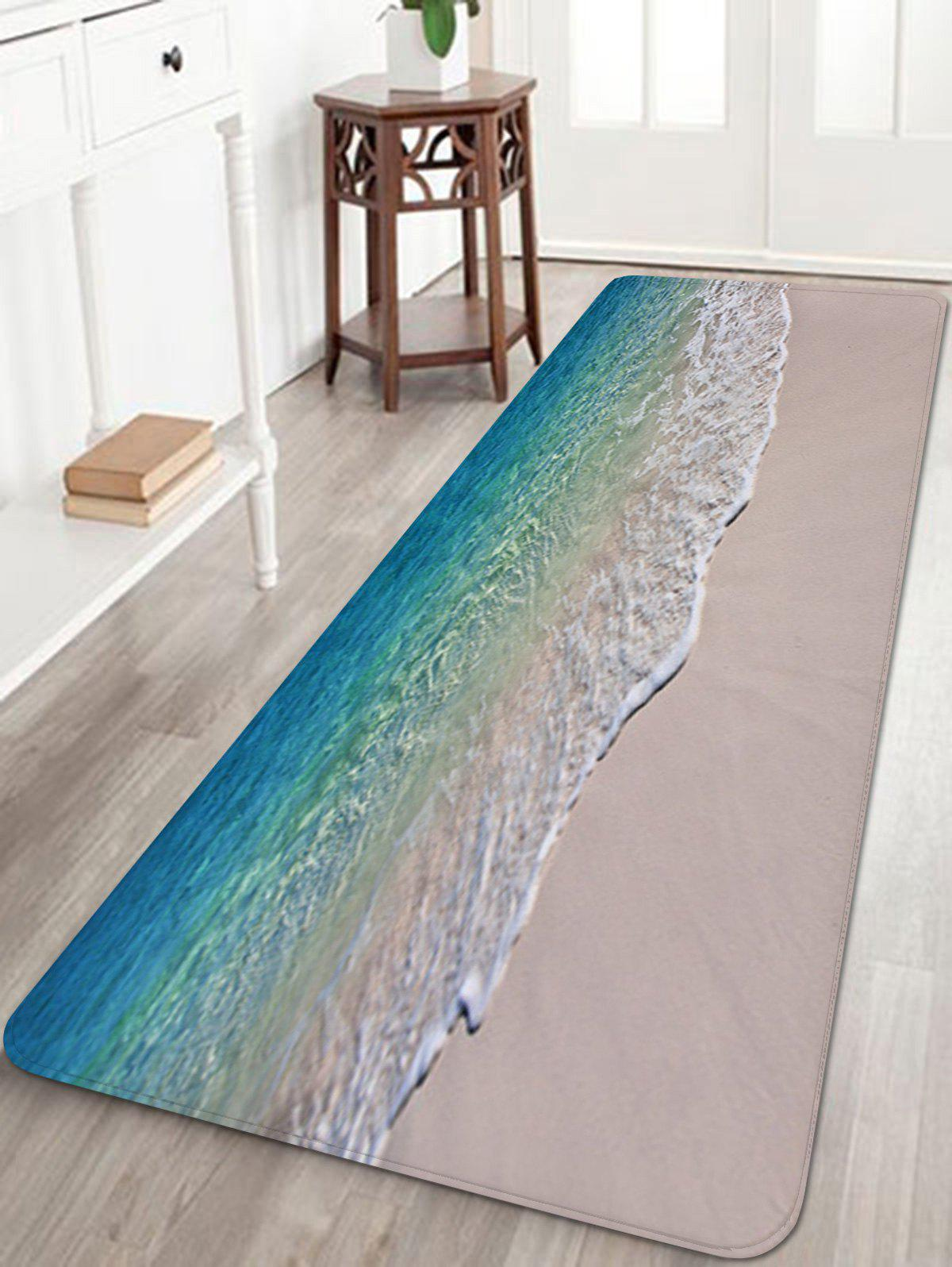 Trendy Beach Seawaves Print Floor Area Rug