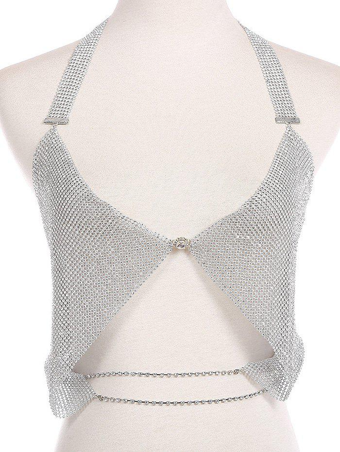 Sale Sparkly Rhinestoned Chainmail Halter Body Jewelry