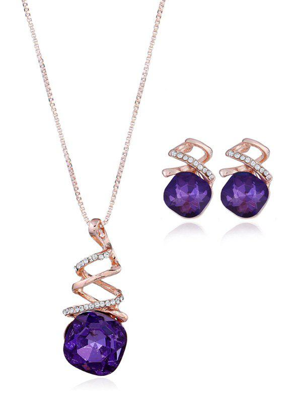 Affordable Rhinestone Alloy Necklace with Earring Set
