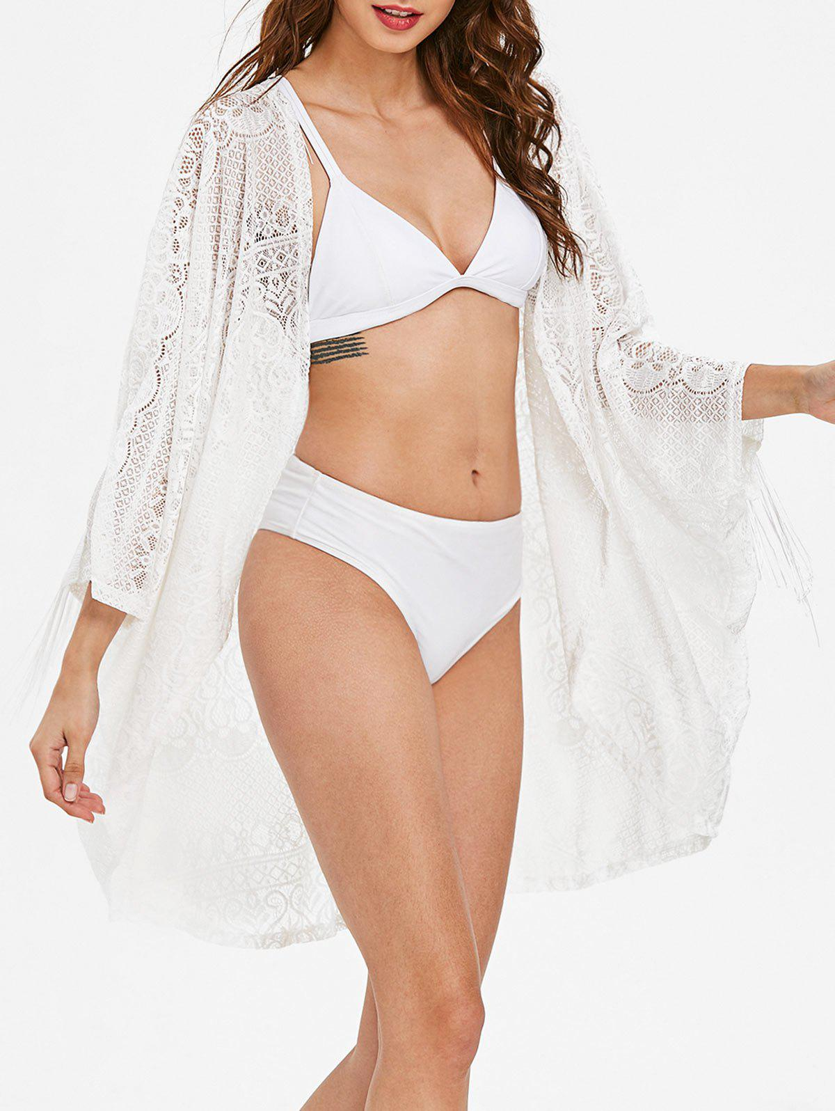 Shop Fringe See Through Lace Cover Up