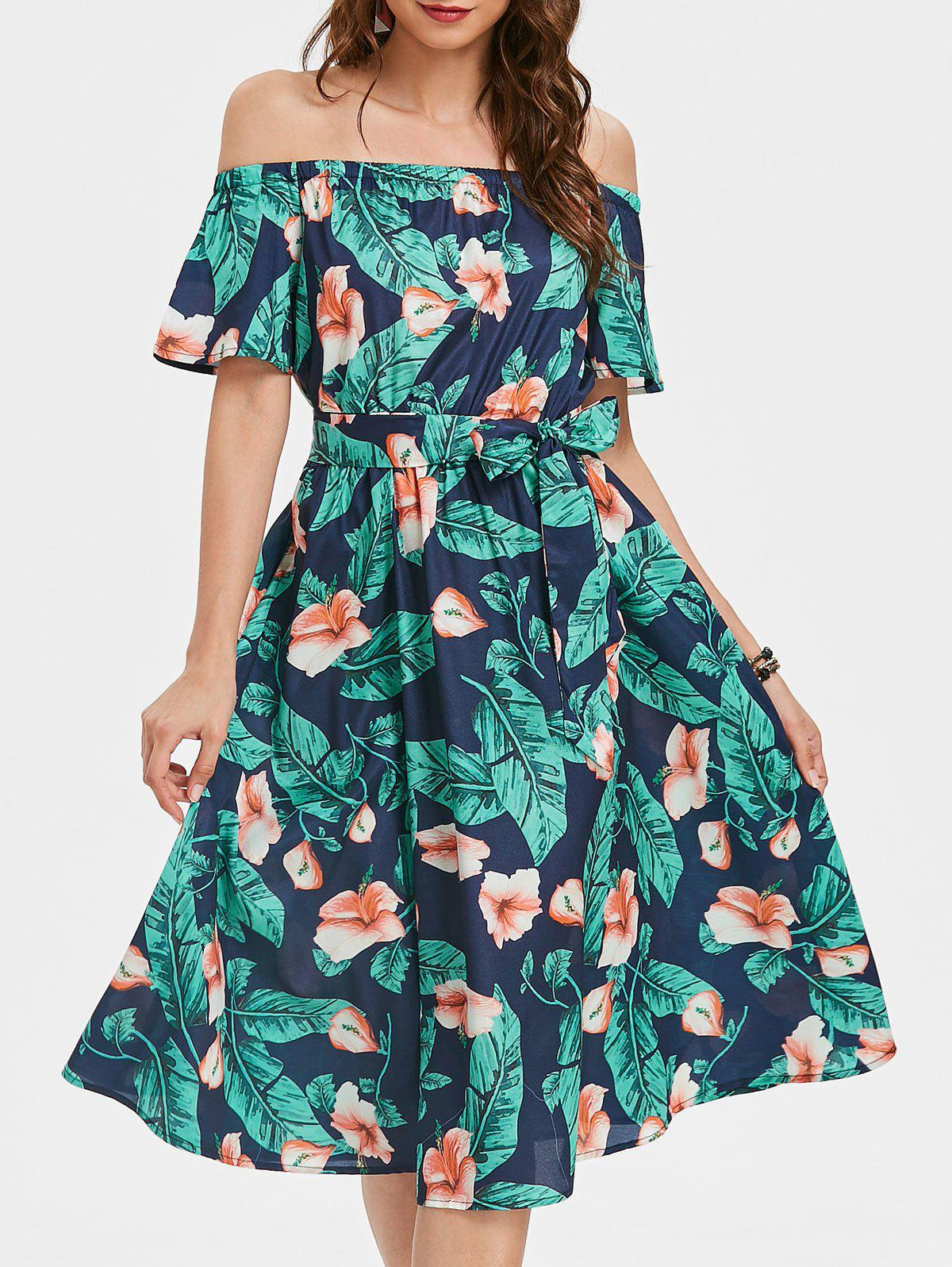 Sale Off The Shoulder Printed Dress with Belt