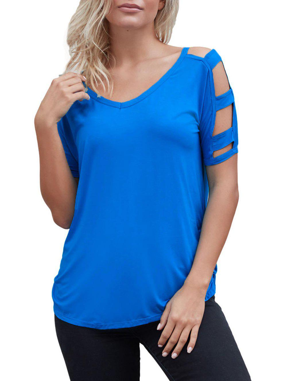 Trendy Cutout Simple T-shirt