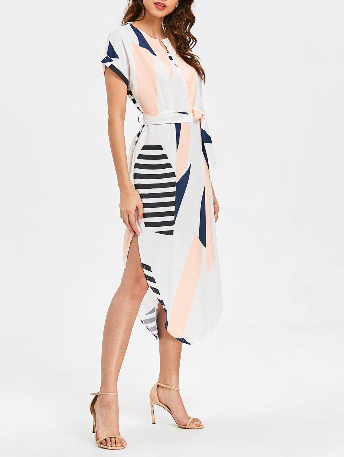 Online Geometric Print Slit Belted Dress