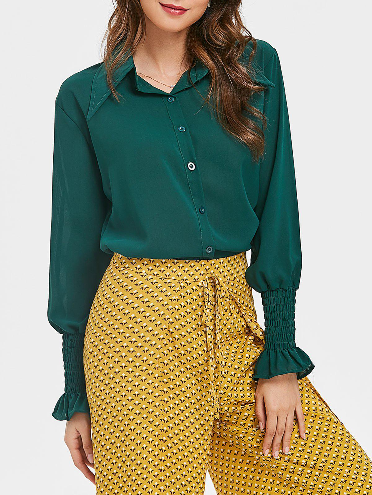 Affordable Balloon Sleeve Chiffon Blouse