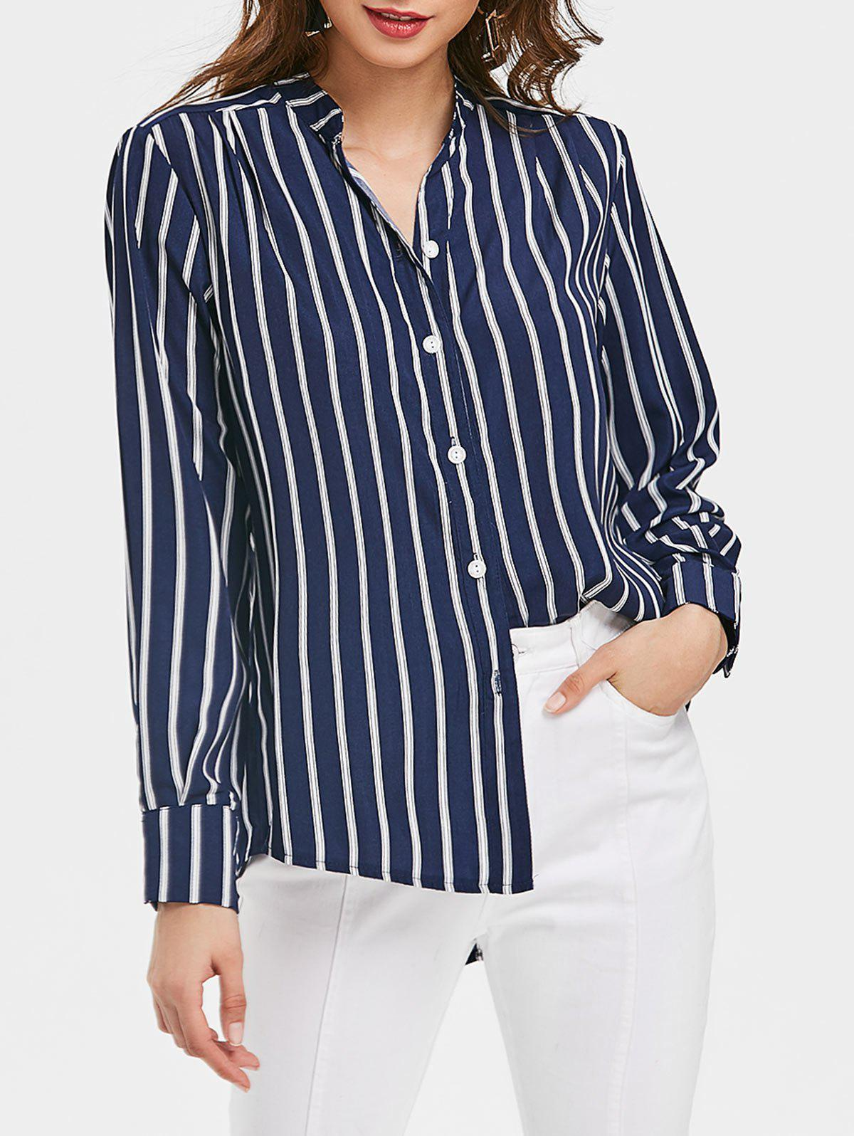 Cheap Vertical Stripe High Low Tunic Top
