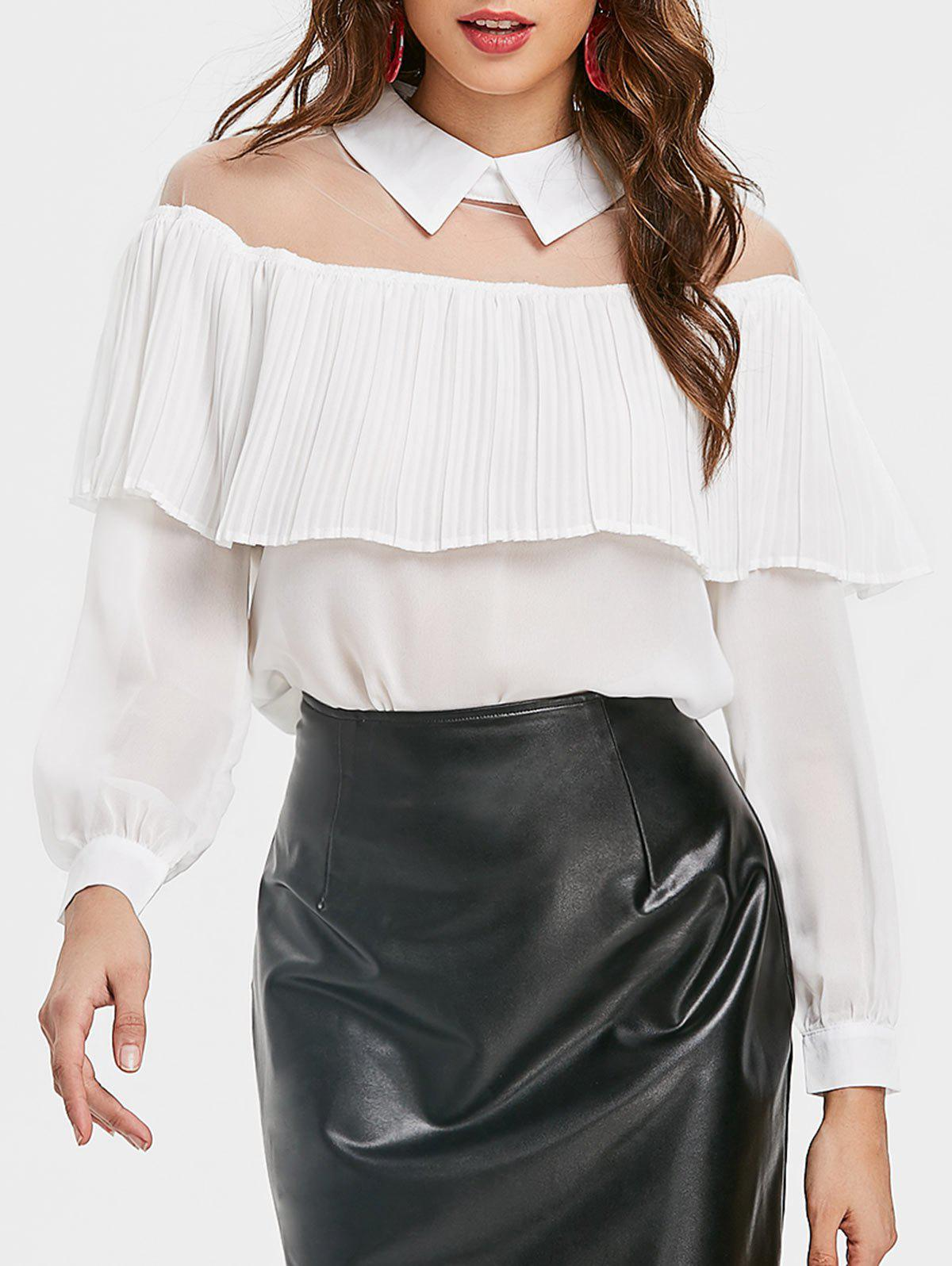 Unique See Through Mesh Insert Ruffle Blouse