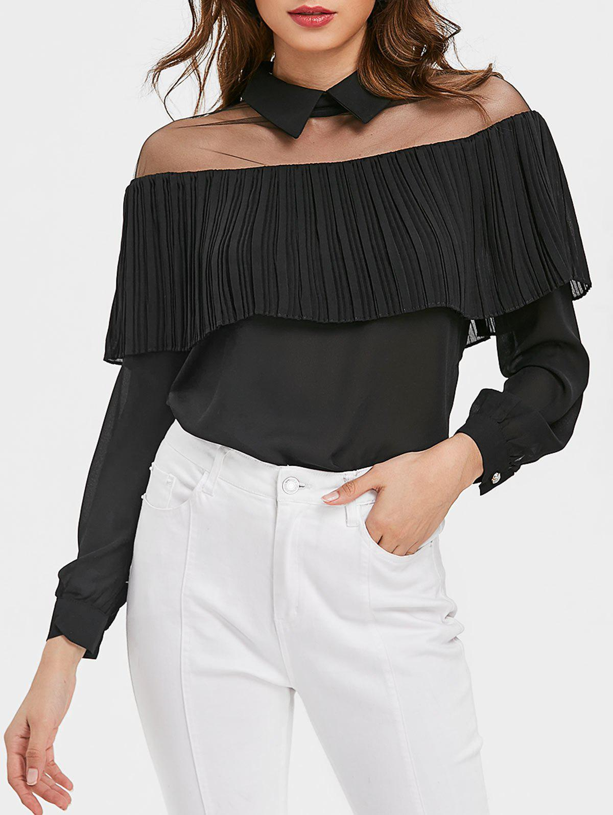 Store See Through Mesh Insert Ruffle Blouse