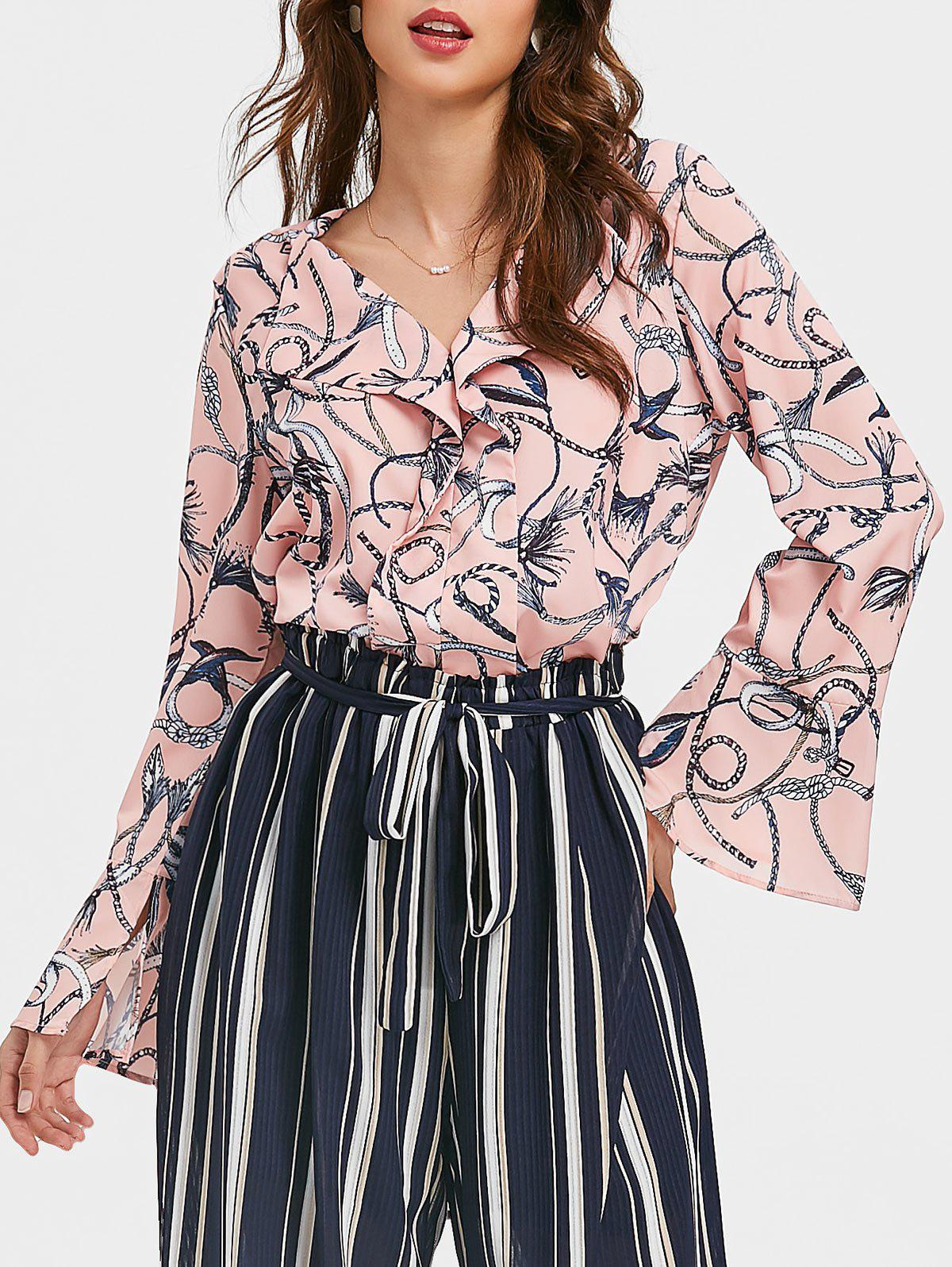 Store Flare Sleeves V Neck Ruffle Printed Top