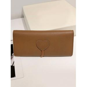 Heart Embellished Horn Buckle Long Card Wallet -