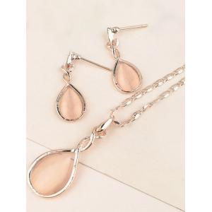 Artificial Opal Teardrop Necklace and Earring Set -