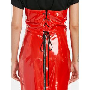 Cupless Faux Leather Bandeau Dress -